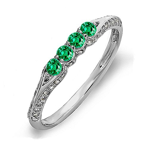 ion 14K White Gold Round Emerald & White Diamond Ladies Stackable Anniversary Wedding Band (Size 10) (Emerald Diamond Ring Settings)