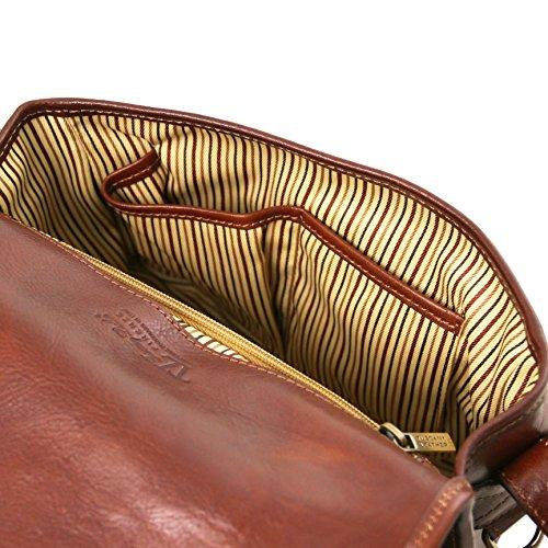 81414814 - TUSCANY LEATHER: GIULIA - Sac bandoulière en cuir avec rabat, Rouge