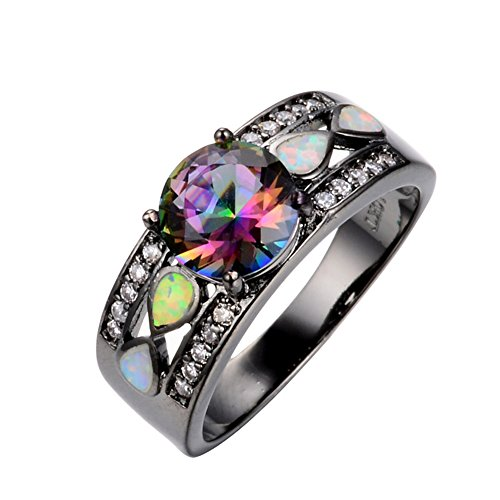Rongxing Jewelry Opal Rings Rainbow Mysteric Crystal Women's Black Gold Size 8 Wedding