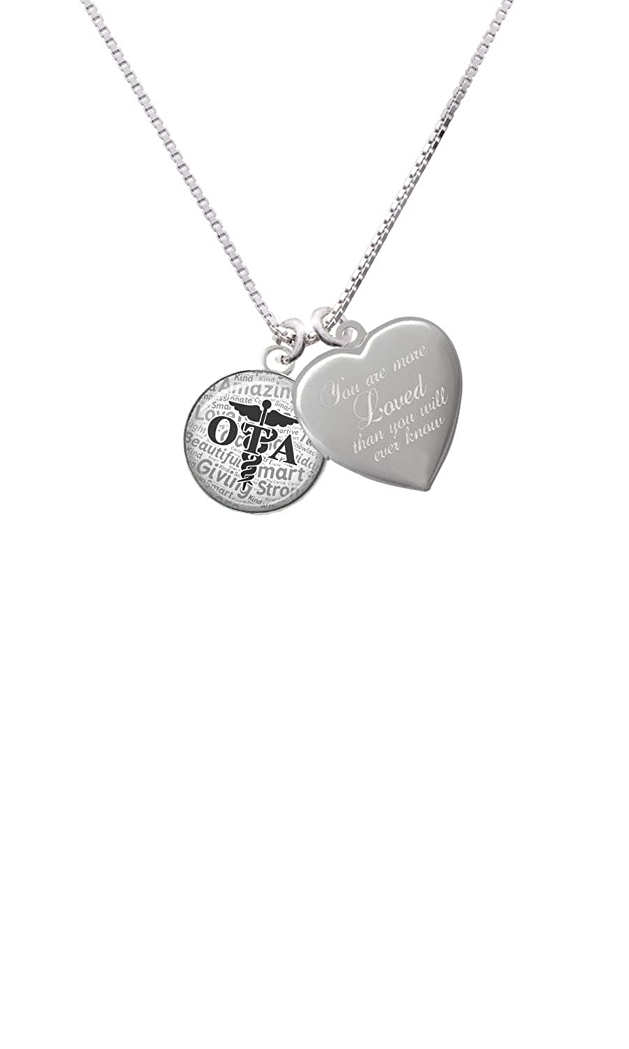 Domed Black OTA Custom Engraved You are more Loved Heart Locket Necklace