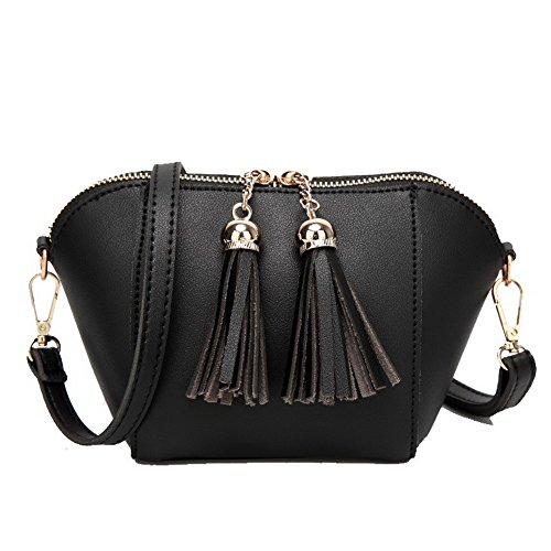 BUTBS181514 Abito donna Shopping Crossbody Fringe Clutch Bags Nero AmoonyFashion Pu Handbags UZqzxxwR