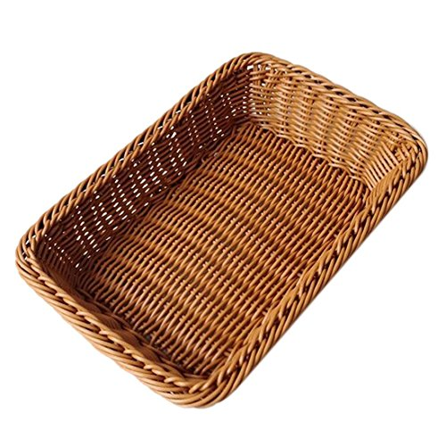 DOGOO 12×8×3 inches Bread Basket, Rectangle Rattan Bread Basket,For Food Serving Baskets,Restaurant Serving/Diplay Baskets For Fruit Food Vegetables