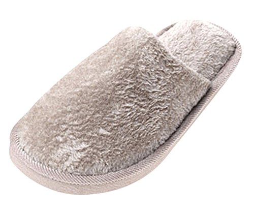 Eagsouni Mens Womens Indoor Winter Warm Slippers Solid Fuzzy Round Toe Soft Plush Grey dx1bhD