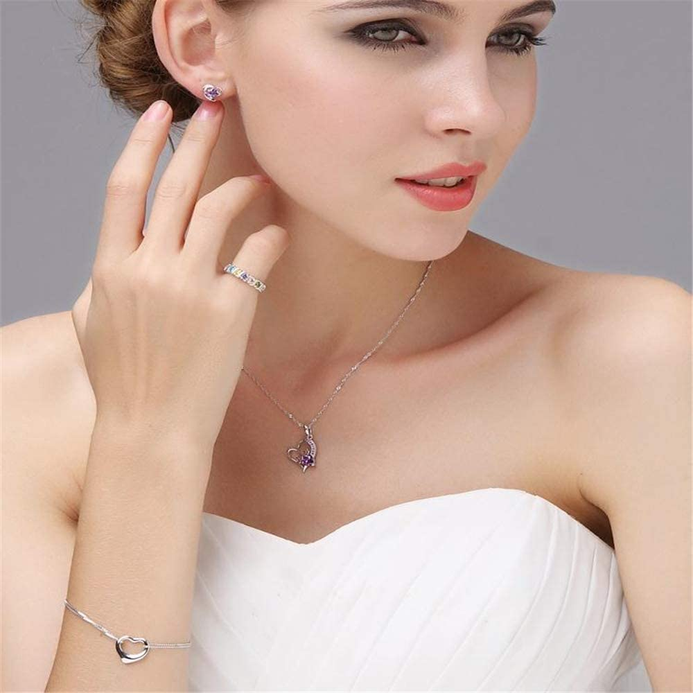 GLEENECKLAC 925 sterling silver romantic love shiny crystal ladies hanging necklace jewelry female
