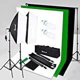 Photography Photo Video Studio Lighting Kit with Background Support System and 625W 5500K Softbox Continuous Lighting Kit for Photo Studio Product,Portrait and Video Shoot Photography