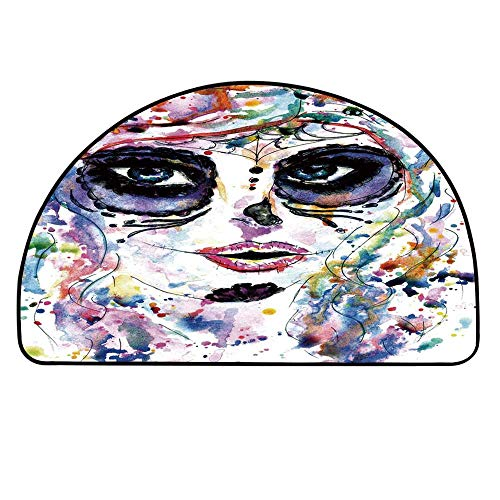 YOLIYANA Sugar Skull Decor Half Circle Rug,Halloween Girl with Sugar Skull Makeup Watercolor Painting Style Creepy Decorative Door Mat,31.4