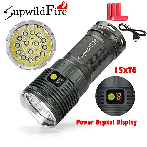Perman Outdoor Flashlight Set, Supwildfire 50000LM 5 x XM-L T6 LED Power & Mode Digital Display Hunting Torch with 4 pcs 18650 Battery on Sale (Silver)