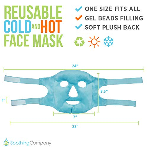 Hot and Cold Gel Face Mask by Soothing Company - Pain Relief for Migraines - Ice Gel Freezer Face Mask Reduce Puffy Eyes,Redness, Headaches, and Stress-Reusable Heat Therapy