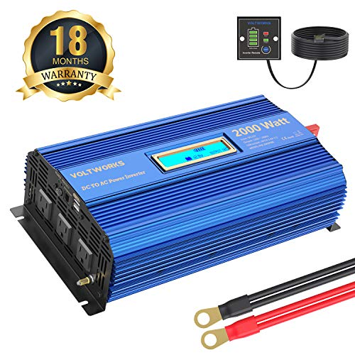 Power Inverter 2000Watt DC 12Volt to AC 120Volt with Remote Control & LCD Display Dual 2.4A USB Ports for RV Truck Boat (Best Power Inverter For Rv)