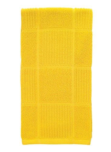 T-Fal Textiles 10943 Solid Color Parquet Design 100-Percent Cotton Kitchen Dish Towel, Lemon, - Single Yellow