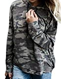 SCX Women Casual Camo Long Sleeve Camouflage Pullover Hoodie Sweatshirt with Pocket