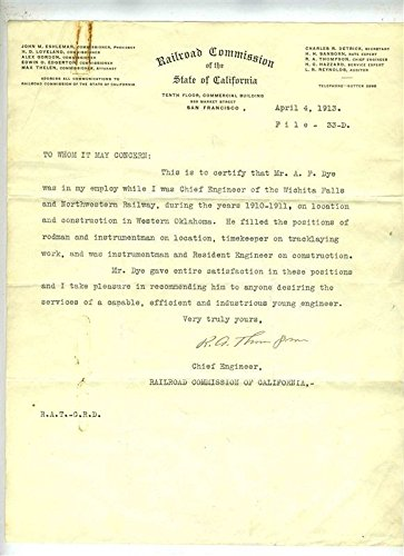 - 1912 to 1915 Railroad Letters of Reference and Photos MKT Wichita Falls Route ++