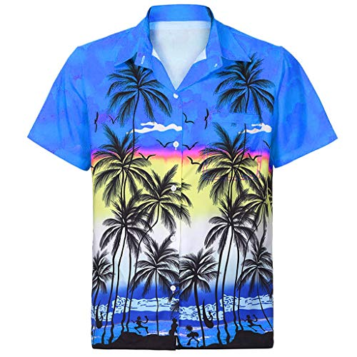 Men Hawaiian Shirt Short Sleeve Front-Pocket Beach Floral Printed Tee Top