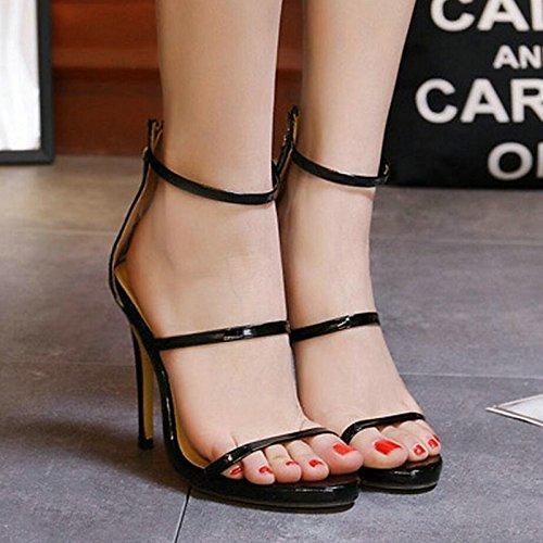 PU dos mujer piezas de Zapatos Office Cumpleaños Open primavera verano para Almond Stiletto sandalias Tobillo talón toe ZHZNVX Carrera hebilla Ew0tq84nE