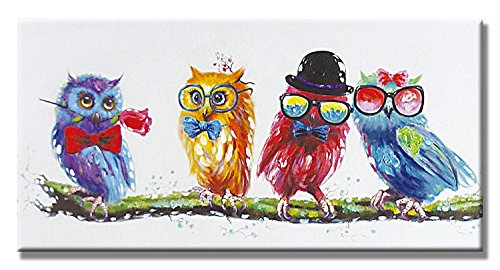 100% Hand Painted Oil Painting Cute Animals with Stretched Frame Artwork For Wall Decor 18 x 36 Inch (Colorful Owl)