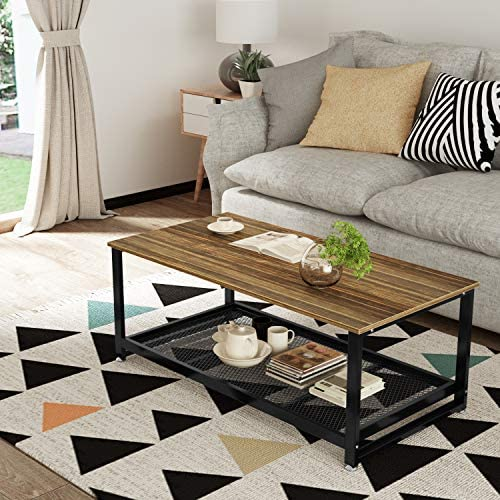 Rustic Coffee Table, Rectangular Center Table with Storage Shelf, Industrial Modern 47 Table for Living Room, Wood Look Accent Furniture with Metal Frame, Studio Collection Classic Coffee Table