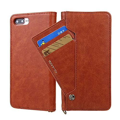 Twinlight for iPhone 7 Case Luxury Magnetic Flip PU Leather Case for iPhone 7 8 Plus X XS XR XS Max Case Wallet with Stand Cards Slot (Brown, for iPhone 7 8)
