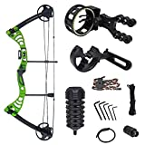 iGlow 30-55 lbs Green Archery Hunting Compound Bow with Premium Kit 175 150 70 55 40 30 lb Crossbow