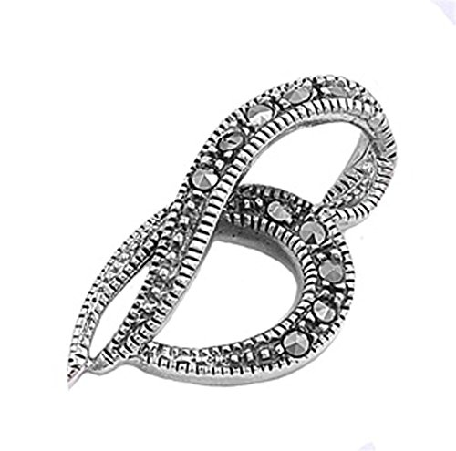 Heart Pendant Simulated Marcasite .925 Sterling Silver Charm - Silver Jewelry Accessories Key Chain Bracelet Necklace Pendants