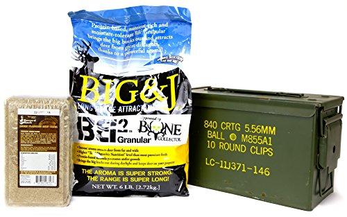 Big & J BB2 Granular Long Range Deer Feed / Attractant - 6 LB & Sportsman's Choice Record Rack Acorn Flavored Salt Brick - 4 LB Bundle Set & US Military Previously Issued 50-Caliber Ammo Box (3 items) (Guns Pellet Force Air)