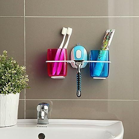 lfnrr alta calidad pared de aspiración Cepillo de dientes soporte ventosa pareja decorativo lavar Copa rejillas soporte de pared de la sala de baño montés ...