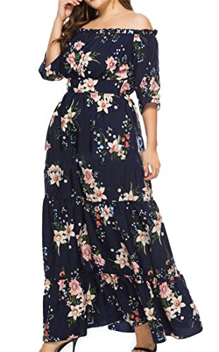 Size Large Shoulder Women Half Sleeve Cromoncent Blue Dresses Printing Off Bohemia Beach Purplish xEqI55g