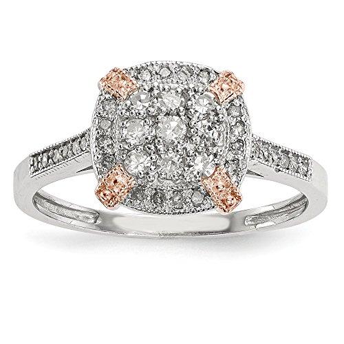 - 10k Tiara Collection Two-tone Rose and White Diamond Ring