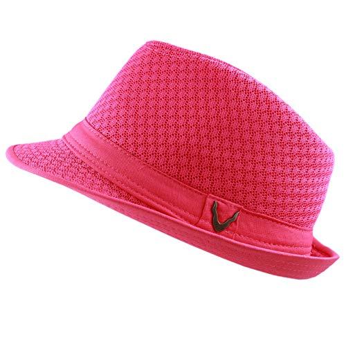- The Hat Depot 200G1015 Light Weight Classic Soft Cool Mesh Fedora hat (L/XL, Hot Pink)