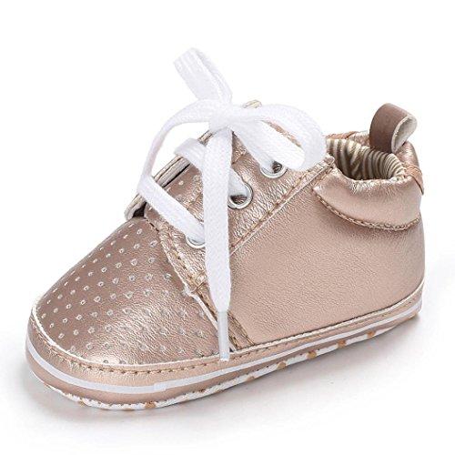 Ouneed® Krabbel schuhe , Herbst Winter Kleinkind-Baby-Bindung Weiche PU leather Schuhe Krippe-Fußbekleidung-Baby-Jungen-Mädchen-beiläufige Schuhe Gold