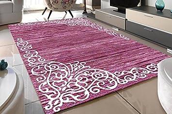 Designer Teppich Lila Kurzflor Orientalisch Wohnzimmer, Schlafzimmer,  Esszimmer, Küche, Läufer Neu Modern