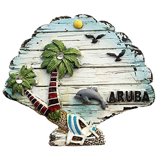 Antilles Note Netherlands (Rancheng 3D Fridge Sticker Netherlands Antilles Aruba Fridge Magnet Coconut Tree Refrigerator Stickers Decorative)