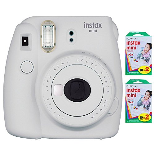 Fujifilm Instax Mini 9 Instant Camera (Smokey White) with 2 x Instant Twin Film Pack (40 Exposures) (Film Intant Camera)