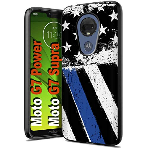 Motorola G7 Power/Supra Soft-Gel Case - [NakedShield] [Black] Soft Flexible Cover [Corner Air Cushion] [Wireless Charging Compatible] [Thin Blue Line US Flag] for Motorola G7 Power/Supra