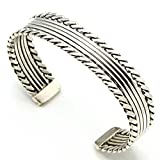 Silver Cuff By Navajo Artist Elaine Tahe (5.25'' tip to tip x 1/2'' wide)