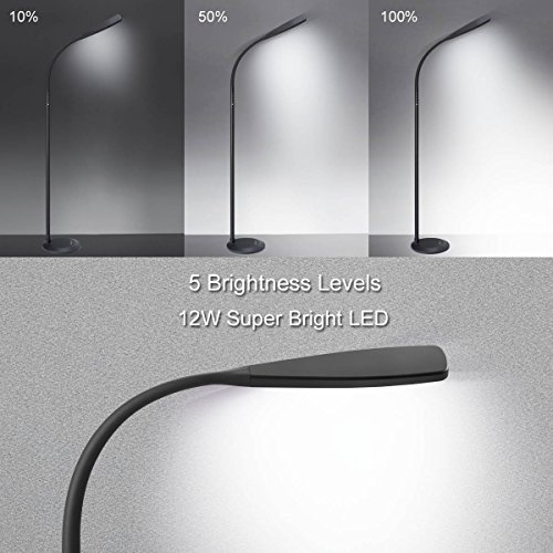 PHIVE LED Floor Lamp for Reading, Dimmable Gooseneck Standing Lamp (4 Color Modes, 5-Level Dimmer, 12W, Memory Function, Touch Control Floor Light for Living Room, Bedroom, Office) Black by PHIVE (Image #3)