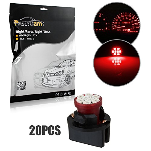 Partsam 20pcs Red T10 194 168 W5W LED Light Bulb 8-Epistar-SMD With Sockets Instrument Panel Speedometer Odometer Temp Gauges Lighting - 93 Temp Probe