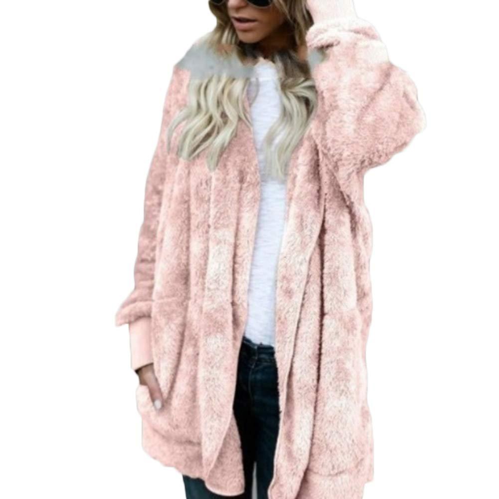 fublousRR5 Hooded Midi Coat Cardigan Women Reversible Faux Fur Outerwear Winter Long Sleeve Overcoat