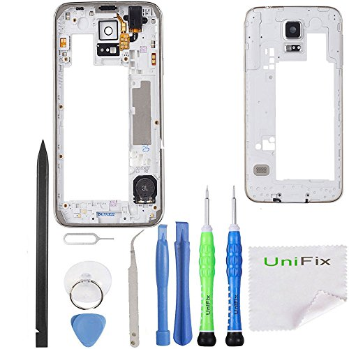 Middle Housing Assembly - Middle Frame Housing Bezel Camera Cover For Samsung Galaxy S5 SV i9600 G900 + Tool Kit by Unifix