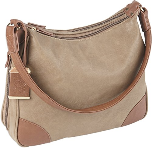 Bulldog Cases Hobo Style Purse with Holster, Taupe with Tan Trim, Large (Best Pistol For Women's Purse)