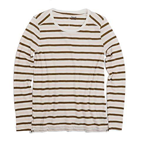 (Madewell Women's Long Sleeve Striped Whisper Tissue Tee (Large))