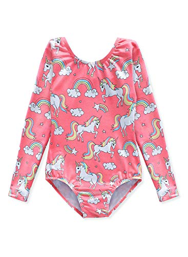 Long Sleeve Leotards for Girls Gymnastics Size 7-8 Years old 7/8 Pink Unicorn Print -