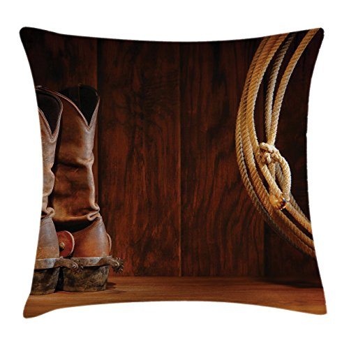 Ambesonne Western Decor Throw Pillow Cushion Cover, American Style Cowboy Wild West Culture Equestrian Sports Team Roping Barn, Decorative Square Accent Pillow Case, 18 X 18 Inches, Umber -