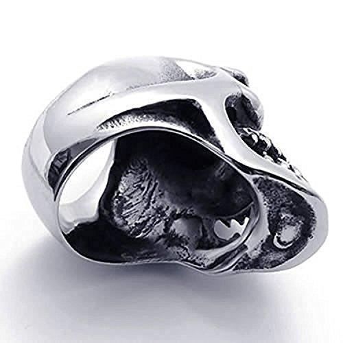 K Mega Bijoux Men's Motard Acier Inoxydable Crâne Anneau, Argent Noir KR833,Avec un sac-cadeau