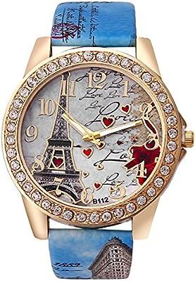Leisial Reloj para Mujer Cuero PU Forma de Corazón Relojes Pulsera Casual Multifunction Reloj Militares Dial Regalo de Cumpleaños Fiesta Navidad