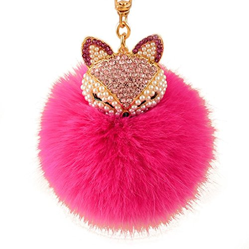 La Tartelette Real Fox Fur Ball with Artificial Fox Head Inlay Pearl Rhinestone Key Chain for Womens Bag or Cellphone or Car Pendant (Hot Pink)