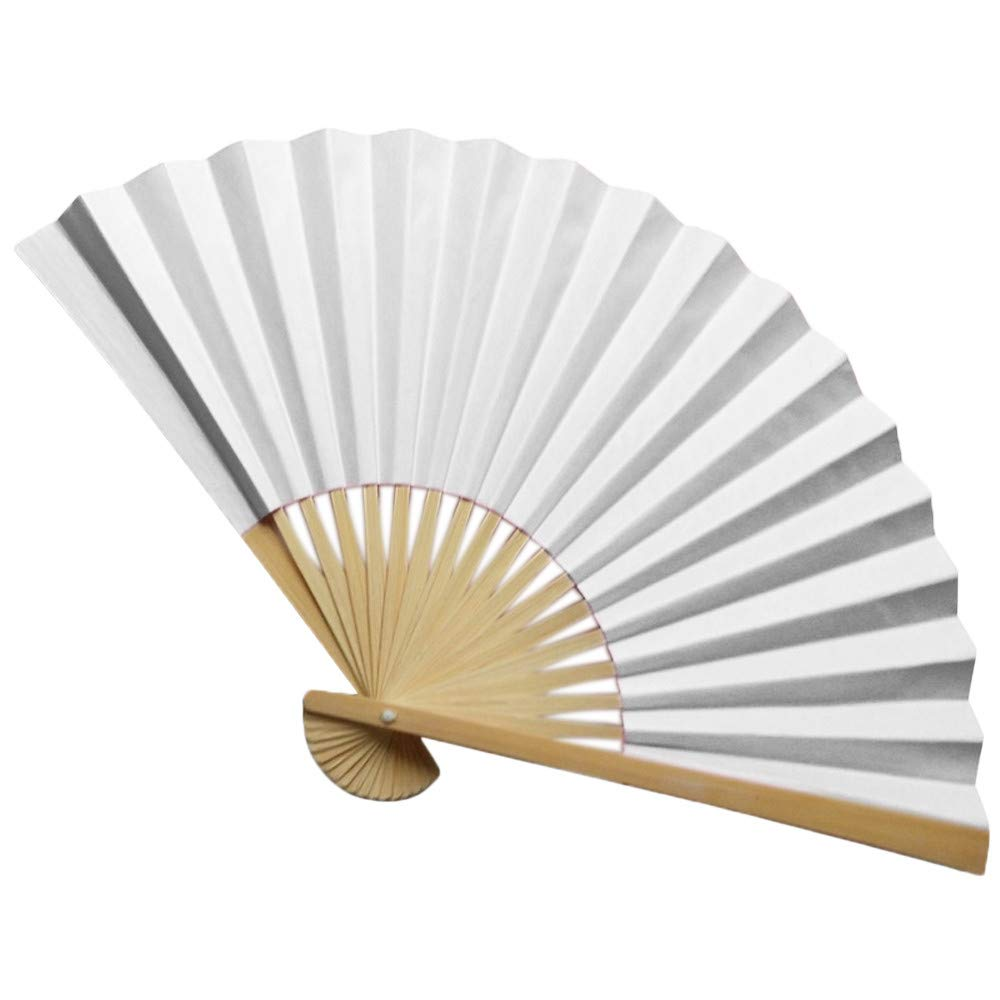 GOUTOO Pack Hand Held Fans Silk Bamboo Folding Fans Handheld Folded Fan for Church Wedding Gift Party Favors DIY Decoration (A)