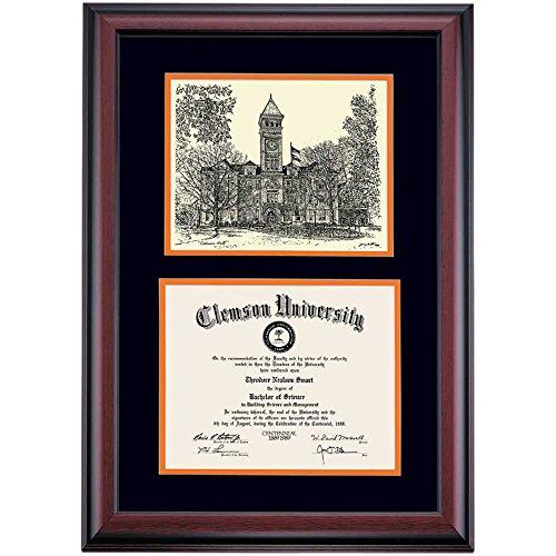 - Clemson Tigers Diploma Frame Black Orange Matting Pen & Ink
