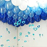 LACGO (120 Pieces 10 Inch Latex Party Balloons with Silver String, Heart Shape Pendant, Balloon Fixed Glue, Assorted Color Balloons for Birthday or Event Decoration (Blue, White)