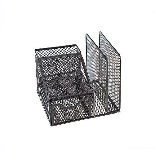 Comix Mesh Desktop File Holder and Book Organizer, Durable Metal - Black