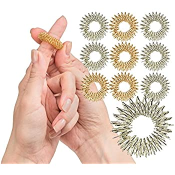 fb1b193fff144c Spiky Sensory Finger Rings (Pack of 10) - Great Fidget/Sensory Toy for Kids  and Adults - Spiky Finger Ring/Acupressure Ring Set